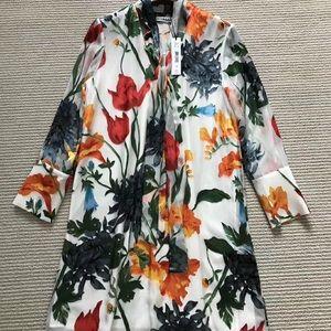NWT Alice + Olivia Floral Silk Shirtdress